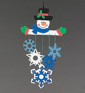 What about making a pretty snowman or a sparkly snowflake to look at? This bright and colorful mobile was found at www.stylishtrendy.com