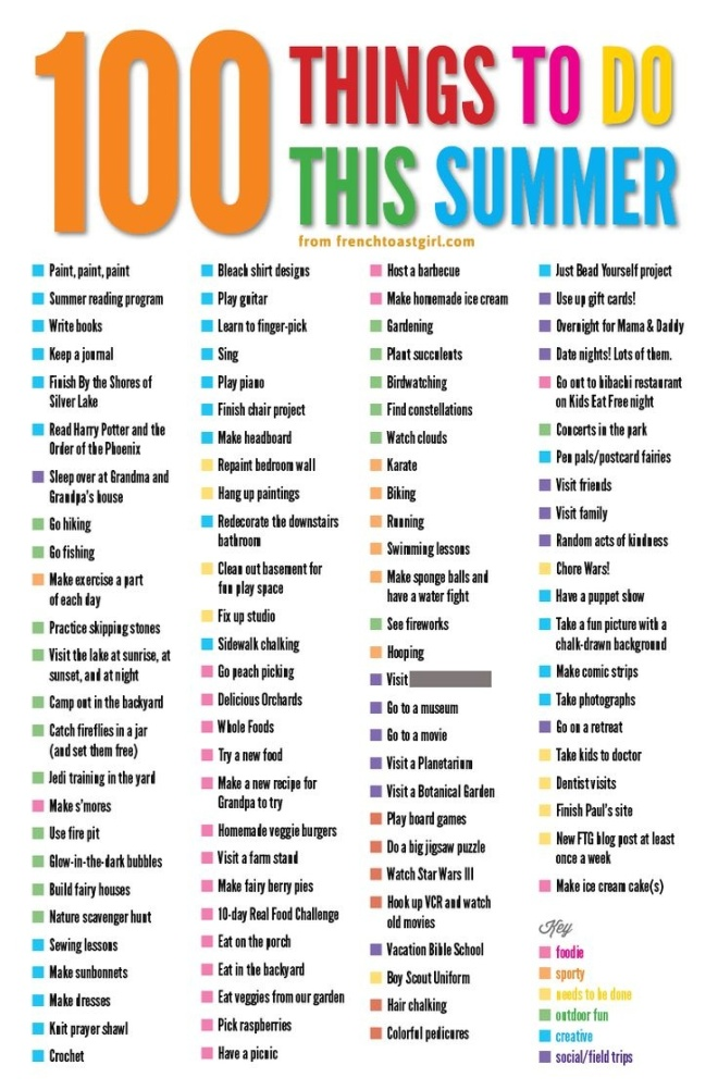 100 Things to do in Summer