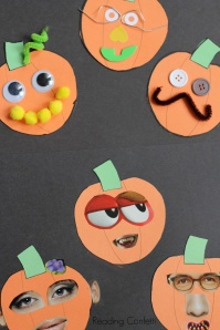 Fun pumpkin faces, who is who? Found at readingconfetti.com, by Lorie K