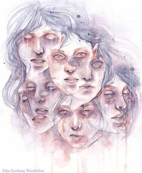 This incredible drawing-painting of Dissociative Identity Disorder is by SiljaVich on deviantART. H